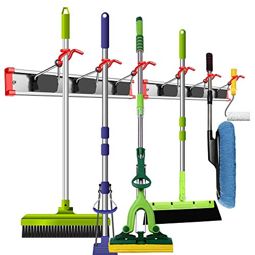 WALMANN Aluminium Alloy Broom and Mop Holder Wall Mounted, Space Saving Wall Mounted Organizers and Storage for Home, Broom Hanger and Tool Organizer for Gorage Storage System, Pack of 2 (6 Holders)