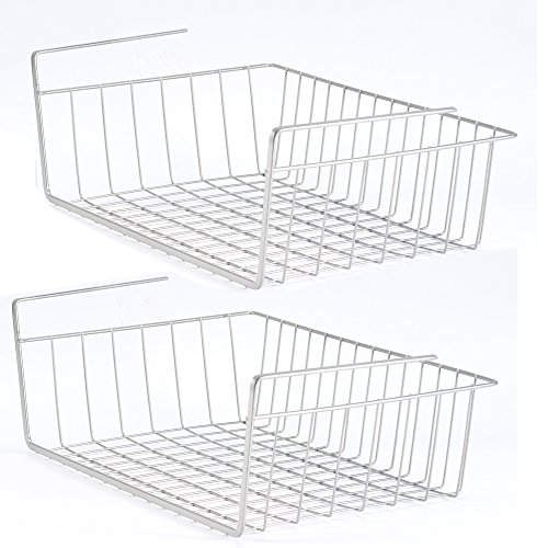 2 Pack Space Saving Under Shelf Basket Wire Rack Organizer Storage Fit Dual Hooks for Kitchen Pantry (Space Saving Cup Holder)