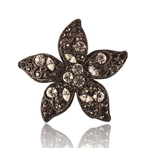 Jet Black Star Floral Brooch and Pendant - Black and White - Floral Brooch Pendant