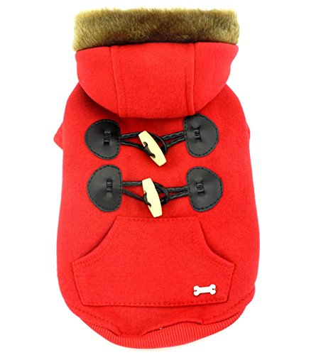 SMALLLEE_LUCKY_STORE Small Dog/Cat Fleece Horns Hoodie Jacket Hooded Coat, X-Small, Red