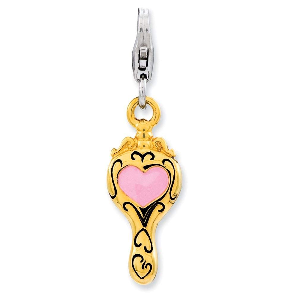 Amore La Vita Sterling Silver Enameled 3-D Gold Plated Heart Mirror Click-On Lobster Clasp Charm Pendant