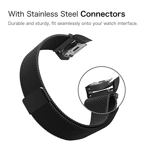Gear S2 Watch Band [Large], Fintie [Magnet Lock] Milanese Loop Adjustable Stainless Steel Replacement Strap Bands for Samsung Gear S2 SM-R720 / SM-R730 Smart Watch - Black by Fintie (Image #4)