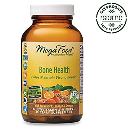 MegaFood – Bone Health, Multivitamin Support for Bone Strength, Muscle Function, Healthy Mood and Joints with Calcium, Vitamin D3, and Magnesium, Vegetarian, Gluten-Free, Non-GMO