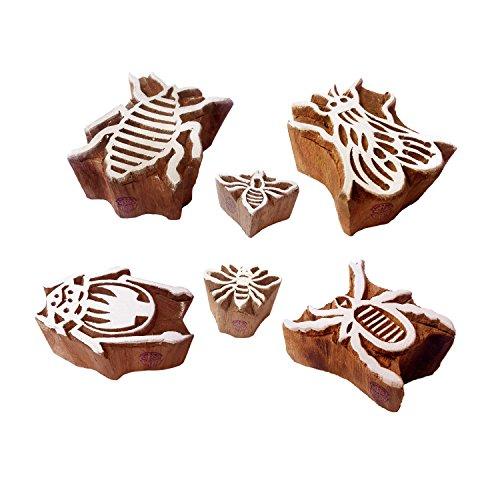 Mehndi Wooden Blocks Elegant Insect Bee Design Printing Stamps (Set of 6)