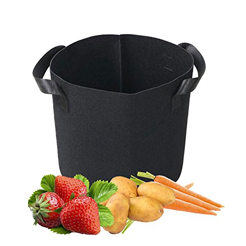 Yuccer Planting Bags, Fabric Plant Grow Bags for Tomatoes Vertical Garden Planter Pots Outdoor Vegetables Flowers Container with Handles Black 1 Pack (B, 3 Gallon)