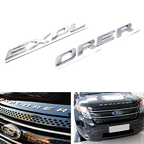 8-letter/set Silver Chrome Finish Front Hood 3D Letters Stickers Fit For 2011-up Ford Explorer