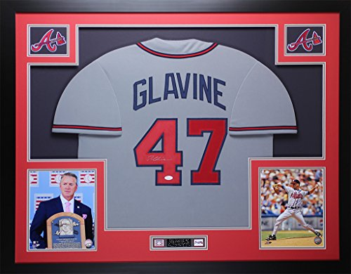 (Tom Glavine Autographed Gray Braves Jersey - Beautifully Matted and Framed - Hand Signed By Tom Glavine and Certified Authentic by JSA - Includes Certificate of Authenticity)