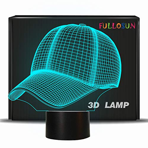 FULLOSUN Night Light for Kids, 3D Illusion Acrylic Football Baseball Hat Night Lite with Touch Control, 7 Colors Changing for Room Decor Sport Fans
