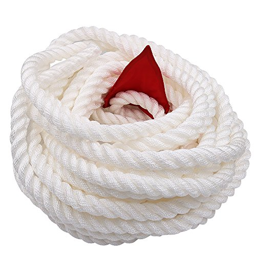 X XBEN Tug of War Rope with Flag for Kids, Teens and Adults, Soft Polypropylene Rope Games for Team Building Activities, Family Reunion, Birthday Party-55 Feet