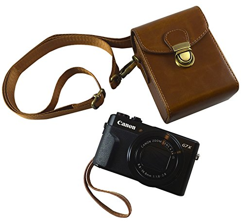 Compact Leather Camera Case Strap - Digital Point and Shoot Cases Camera Bag with Detachable Strap Powershot G7X Mark ii G9 (Brown ()