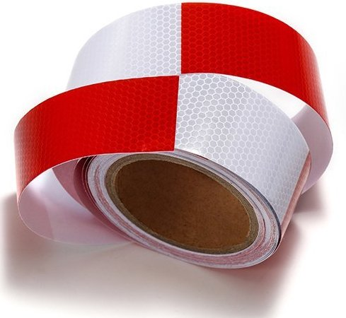 Self Adhesive Safety Tape - Red White Reflective Tape for trailers,trucks,cars-2