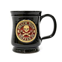 2017 Edition Collectible Death Wish Coffee Ceramic Mug - Black with Red Back fill - Handmade in the U.S.A - 10 Ounce