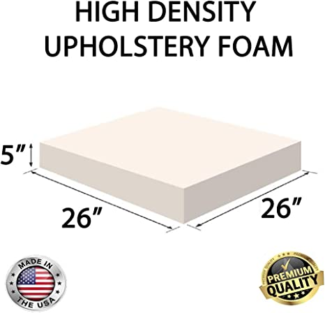 FoamRush 2 x 16 x 38 Upholstery Foam High Density Firm Foam Soft Support Chair Cushion Square Foam for Dinning Chairs, Wheelchair Seat Cushion Replacement