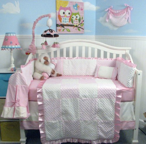 New-Pink-Minky-Dot-Chenille-Baby-Crib-Nursery-Bedding-Set-13-pcs-included-Diaper-Bag-with-Changing-Pad-Bottle-Case