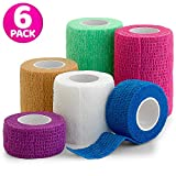 "6 Pack, Self Adherent Cohesive Tape - 1"" 2"" 3"" x 5 Yards Combo Pack, Self Adhesive Bandage Rolls & Sports Athletic Wrap for Ankle, Wrist, Sprains and Swelling, Vet Wraps in Neon Colors - FDA Approved"