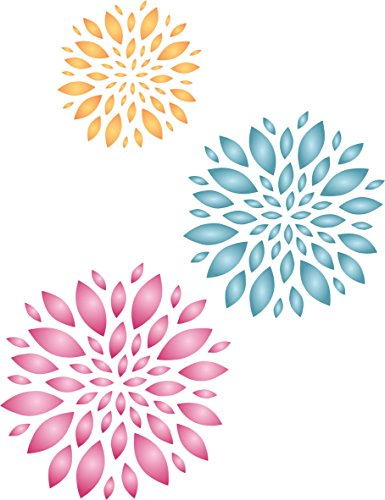 "Flower Pattern Stencil - (size 8""w x 10.5""h) Reusable Wall Stencils for Painting - Best Quality Template Allover Wallpaper ideas - Use on Walls, Floors, Fabrics, Glass, Wood, and More… - Flower Patterns Paint"