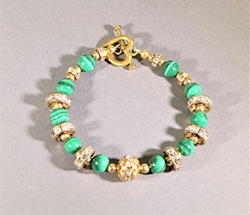 Malachite and Swarovski crystal Bracelet