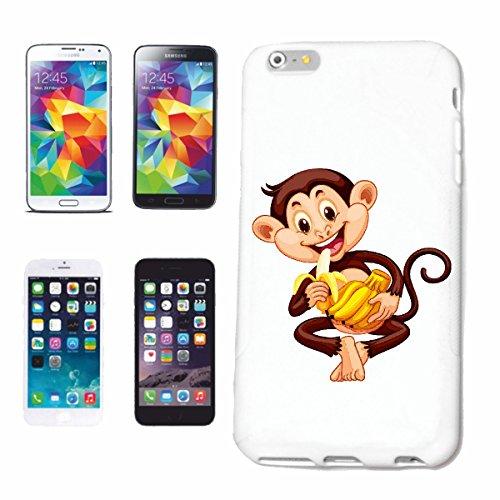 """cas de téléphone iPhone 7+ Plus """"CHIMPANZEE MERRY AVEC BANANE MONKEY MONKEY GORILLA CHIMP SILVER RETOUR APE CHARLY MONKEY KING KONG"""" Hard Case Cover Téléphone Covers Smart Cover pour Apple iPhone en b"""