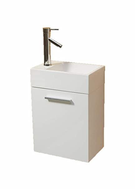 Fabulous Vs Alexius White 16 X 10 Inch Small Vanity Sink Floating Wall Hung Mount Bathroom Modern Contemporary Narrow Tiny Short Cabinet Corian Download Free Architecture Designs Grimeyleaguecom