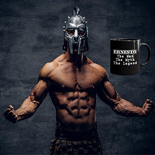 Ernesto Coffee Mug Tazas Negras Personalizadas con Nombres - The Man the Myth the Legend - Best Gifts Regalos for Men - 11 oz Black mug: Amazon.es: Hogar