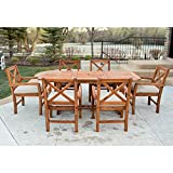 WE Furniture 7 Piece X-Back Acacia Patio Dining Set with Cushions