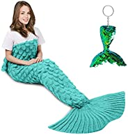AmyHomie Mermaid Tail Blanket, Crochet Mermaid Blanket for Kids Adults, Girls Wearable Blanket Sleeping Bag Li