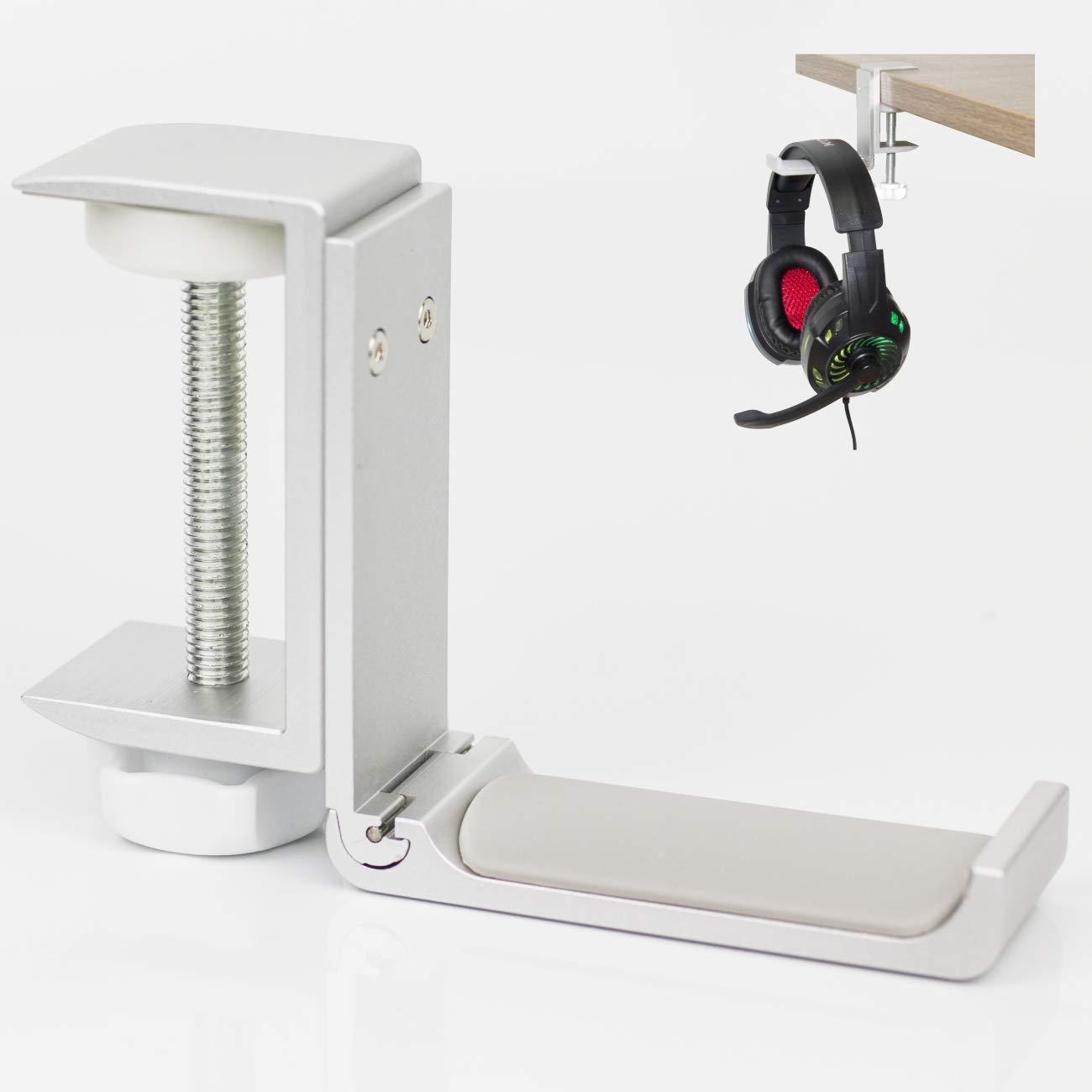 折りたたみ式ヘッドホンホルダー アルミニウム壁マウントフック 20kgまで保持 ネジ付き 1KG 3M接着剤付き headset hanger foldable  シルバー(Silver) B07PQH4CGJ