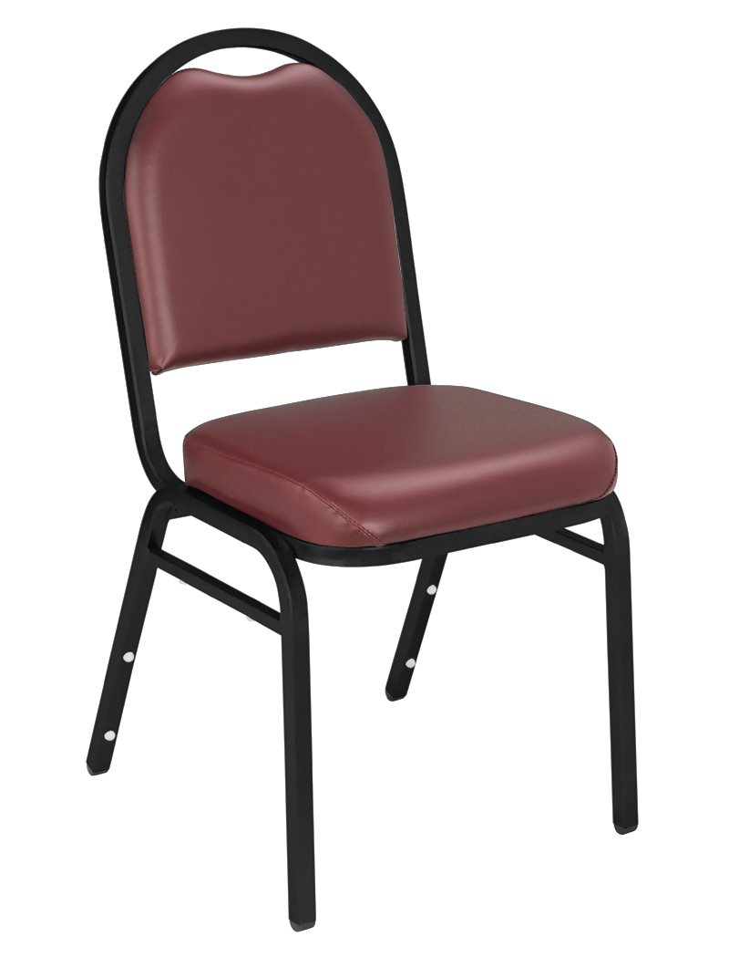 NPS 9208-BT-CN Vinyl-upholstered Dome Back Stack Chair with Steel Black Sandtex Frame, 300-lb Capacity, 18 Length x 20 Width x 34 Height, Burgundy Carton of 4