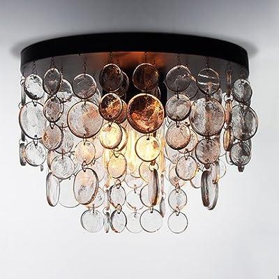 Saint Mossi Modern K9 Crystal Vintage Ice Raindrop Chandelier Lighting Flush mount LED Ceiling Light Fixture Pendant Lamp for Dining Room Bathroom Bedroom Livingroom 4E12 Cap Bulbs Required
