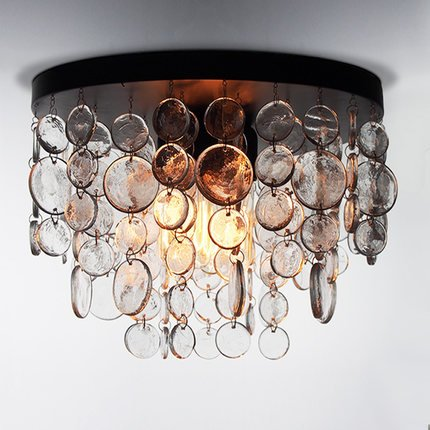 Saint Mossi Modern K9 Crystal Vintage Ice Raindrop Chandelier Lighting Flush mount LED Ceiling Light Fixture Pendant Lamp for Dining Room Bathroom Bedroom Livingroom 4E12 Cap Bulbs Required - Ice Crystal Sconce