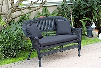 Amazon.com : Resin Wicker Patio Loveseat Cushion And Pillows By Jeco : Patio,  Lawn U0026 Garden