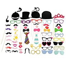 Ohuhu Photo Booth Props 58 piece DIY Kit for Wedding Party Reunions Birthdays Photobooth Dress-up Accessories & Party Favors, Costumes with Mustache on a stick, Hats, Glasses, Mouth, Bowler, Bowties