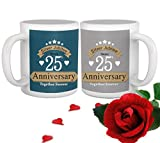 TiedRibbons Silver jubilee 25th Wedding Anniversary Gift for Parents Father Mother Brother Sister Friend Collegue Relatives Set of 2 Printed Coffee Mugs with Rose(325ml Each,Multicolor)