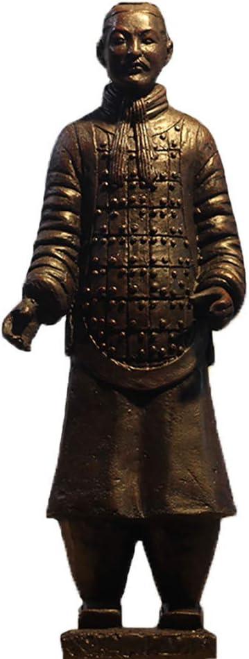 Terracotta Warrior Statue, Ancient China Qin Dynasty Terracotta Warrior Sculpture, Bronze Finish Home Decor Display Gifts Multiple Presentation B 27x15x12cm (11x6x5 inch)