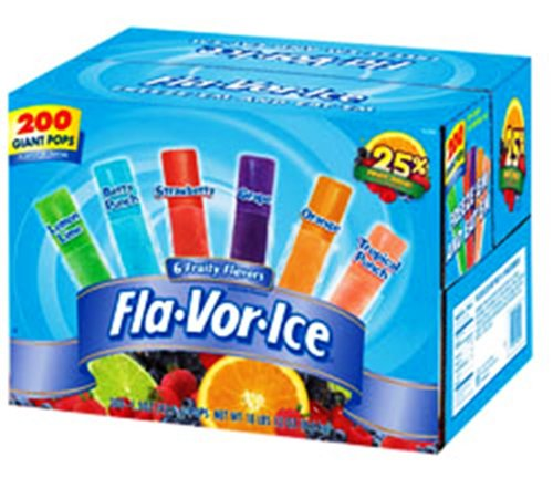 (Flavor Ice Plus Assorted Flavors with Juice, 200Count)