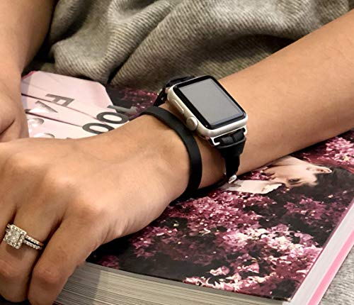 Women Apple Watch Band 42mm - 44mm, Wrist 6.5-7.5 inches Size, Watch, Black Genuine Leather Strap, Slim Handcrafted iWatch Bracelet, Silver Aluminum, Stainless Steel, Space Gray Apple Watch Jewelry