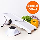 3Haus Adjustable White Mandoline Slicer- Vegetable Slicer- Food...