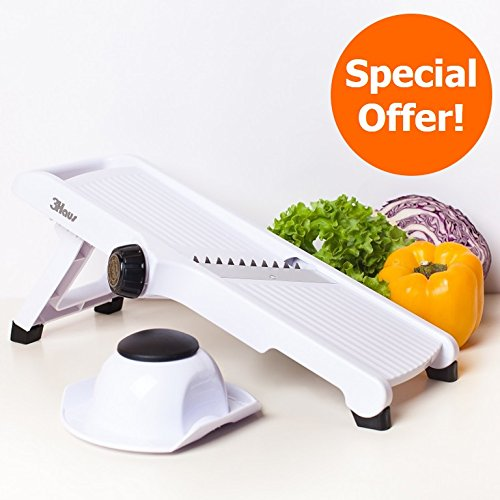 3Haus Adjustable White Mandoline Slicer- Vegetable Slicer- Food Slicer- Julienne Cutter Mandolin Stainless Steel Plastic with Finger Guard