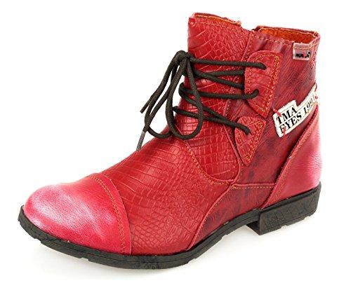 AgooLar Damen Ziehen auf Rund Zehe PU Mitte-Spitze Stiefel mit Metall Nägel, Rot, 35
