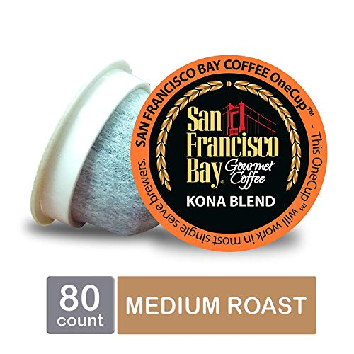 San Francisco Bay OneCup, Kona Blend, Single Serve Coffee K-Cup Pods (80 Count) Keurig Compatible