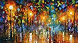 100% Hand Painted Oil Paintings Modern Abstract Oil Painting on Canvas Rain Home Wall Decor (24X44 Inch, Oil Painting 3)