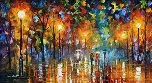 100% Hand Painted Oil Paintings Modern Abstract Oil Painting on Canvas Rain Home Wall Decor (24X44 Inch, Oil Painting 3) by Bingo Arts