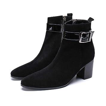 Mr.Zhangs Art Home Mens shoes Zapatos Negros de tacón Alto Botines Puntiagudos de tacón