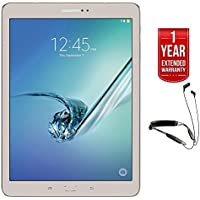 Beach Camera Samsung Galaxy Tab S2 9.7 32GB Wi-Fi Tablet Gold (SM-T813NZDEXAR) with R6 Neckband Earbuds with Bluetooth + 1 Year Extended Warranty