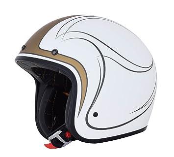 Amazon.es: AFX fx-76 Claymore blanco/dorado/plata perfil bajo Open Face casco de moto Retro Vintage