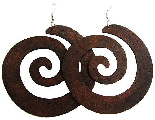- Spiral Earrings - Wooden Earrings - Round Wood Earrings - Big Earrings - Rasta Earrings (Dark Brown)