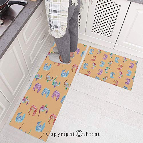 Kitchen Rugs,2 Pieces Non-Slip Flannel Kitchen Mat Rubber Backing Doormat,Pop Art Style Modern Peach Effect Display of Hippocampus in Vivid Ocean Depht Image Runner Rug Set 15.7