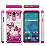 LG Stylo 4 Case, LG Q Stylus Case, Tznzxm 2 in 1 Dual Layer Easy Grip Anti-Scratch Hard PC Silicone Shock Absorption Bling Diamond Sparkly Defender Protective Case For LG Stylo 4/LG Q Stylus Butterfly