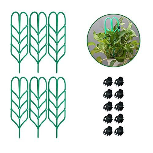 (Vasdoo Indoor Plant Trellis,6 Pcs Garden Trellis DIY for Potted Plant Support, 10 Pcs Plant Clips,Leaf Shape Mini Climbing Plants Flower Vegetables Rose Vine Pea Ivy Cucumbers Pots)