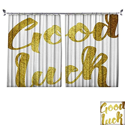 ated Drapes with hookParty Good Luck Wish Note Hand Written Lettering Greeting Card Concept Gold Windproof Function,W55 xL63 ()